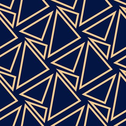 Geometric Seamless Design Golden Triangle Pattern On Dark Blue Background - Immagini vettoriali stock e altre immagini di Blu scuro