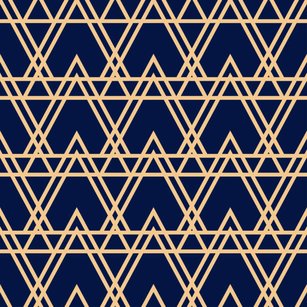 Bекторная иллюстрация Geometric seamless design. Golden triangle pattern on dark blue background