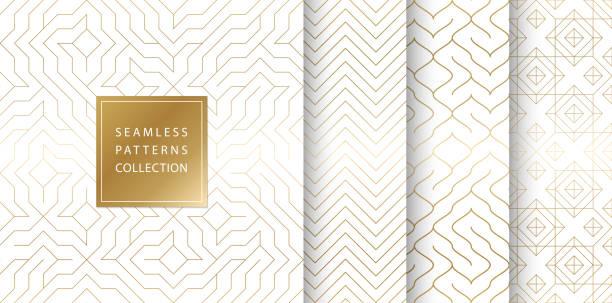 illustrazioni stock, clip art, cartoni animati e icone di tendenza di geometric seamless golden pattern background. simple vector graphic white print. repeating line abstract texture set. minimalistic shapes. stylish trellis square gold grid. geometry web page fill - zigzag