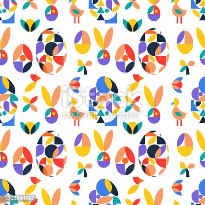 Geometric seamless minimalistic pattern at bauhaus style with simple shapes,eggs and birds. Easter concept.