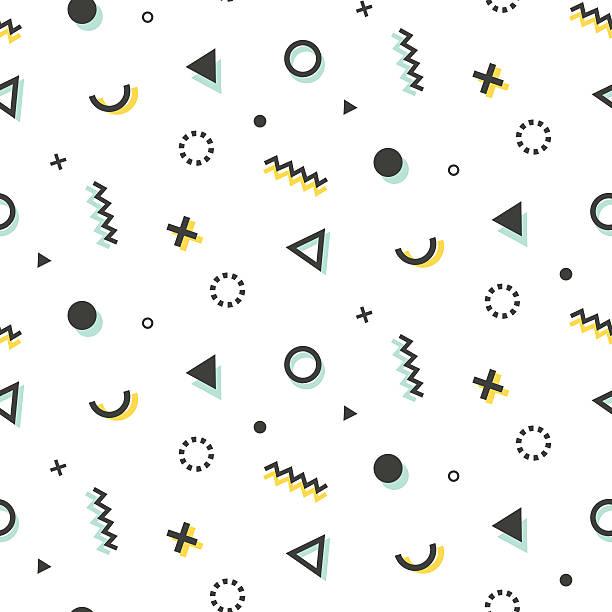Geometric seamless pattern background in retro 80s-90s style - ilustración de arte vectorial