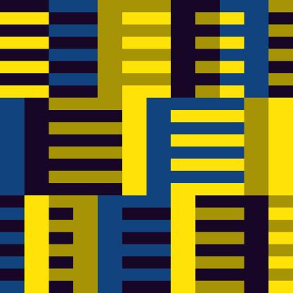 Geometric seamless pattern. Bauhaus style background. Modular grid print. Stripe, line, stroke, rectangle, ornament