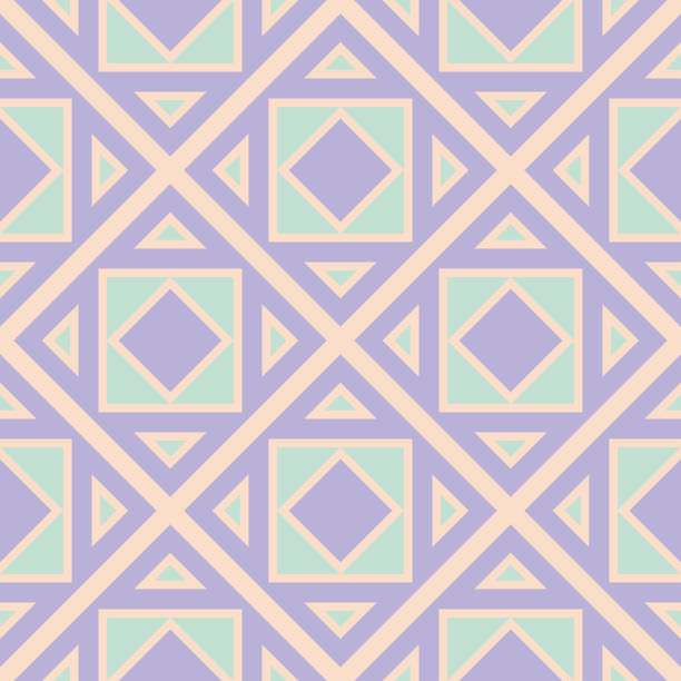 Geometric seamless pattern. Beige background with violet and blue elements vector art illustration
