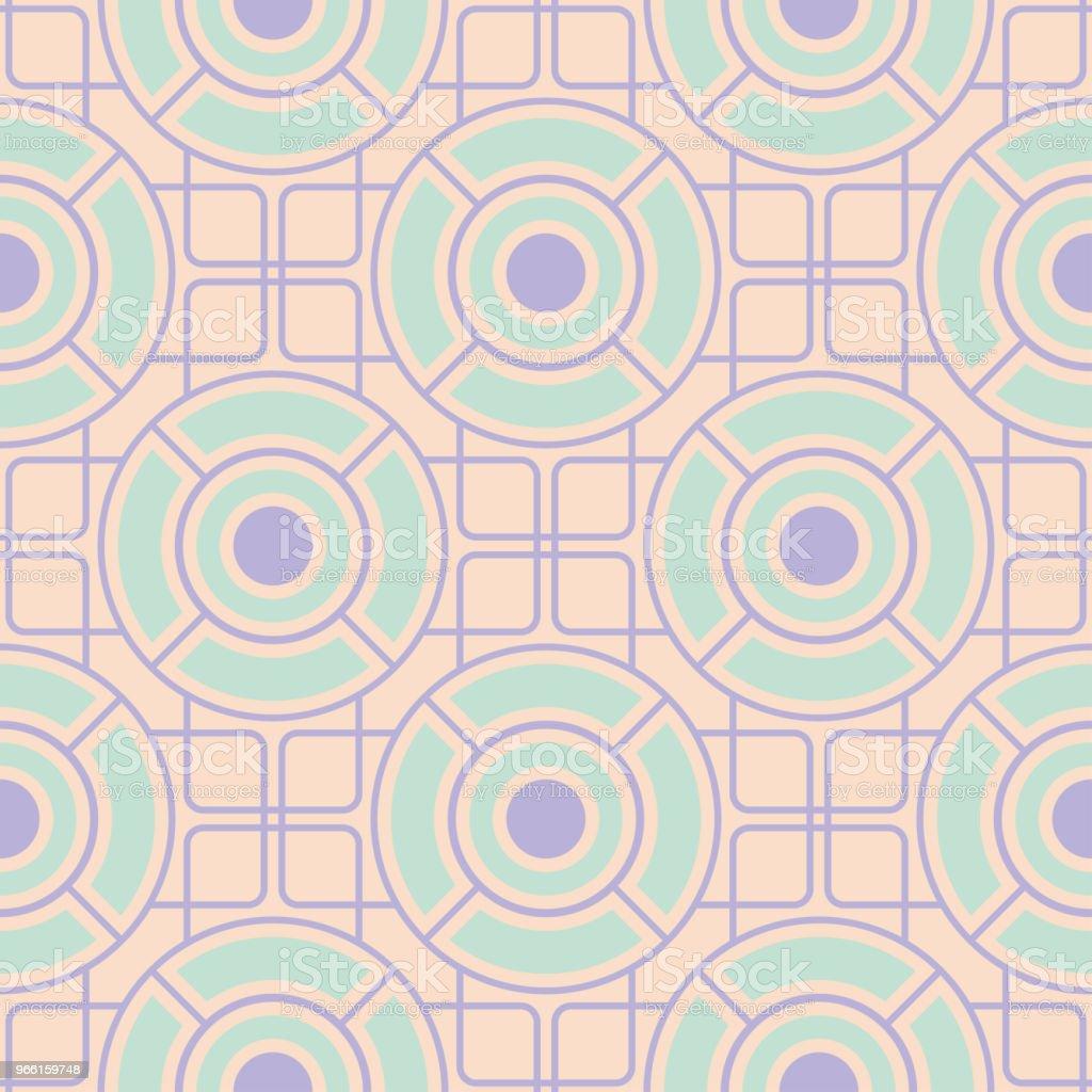 Geometriska sömlösa mönster. Beige bakgrund med violett och blå element - Royaltyfri Abstrakt vektorgrafik