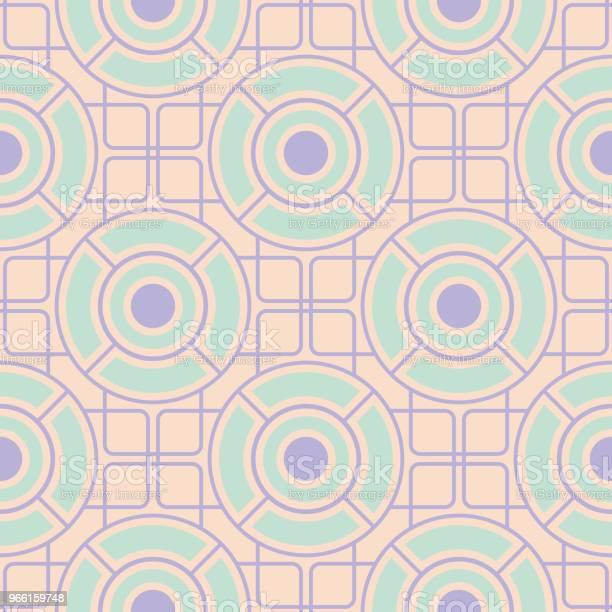 Geometriska Sömlösa Mönster Beige Bakgrund Med Violett Och Blå Element-vektorgrafik och fler bilder på Abstrakt
