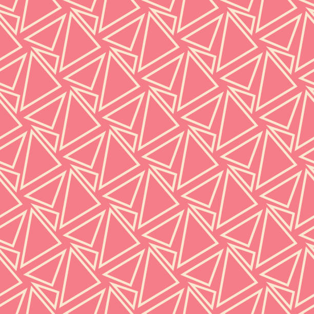 Bекторная иллюстрация Geometric seamless pattern. Beige design on pink background