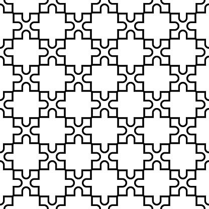Geometric Seamless Pattern Black And White Design - Immagini vettoriali stock e altre immagini di Astratto