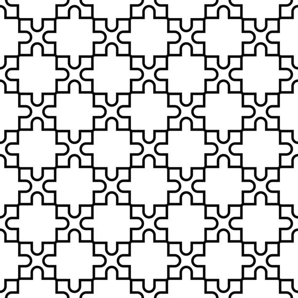 Bекторная иллюстрация Geometric seamless pattern. Black and white design