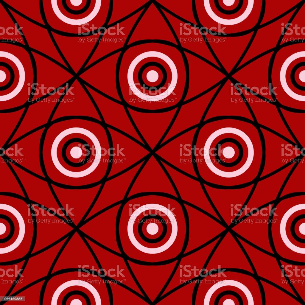 Geometriska sömlösa mönster. Svart och vitt element på röd bakgrund - Royaltyfri Abstrakt vektorgrafik