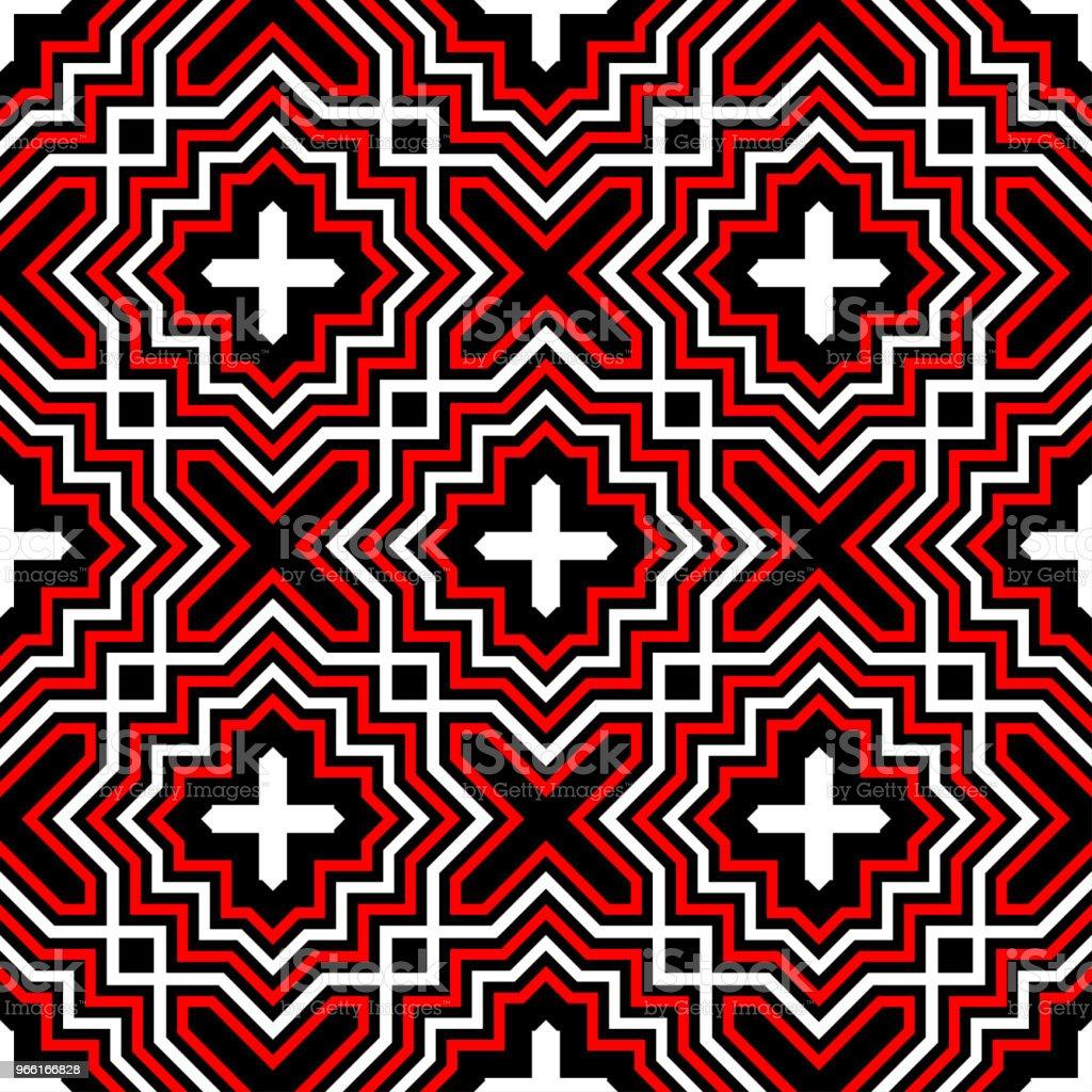 Geometrische naadloze patroon. Zwart rood witte achtergrond - Royalty-free Abstract vectorkunst