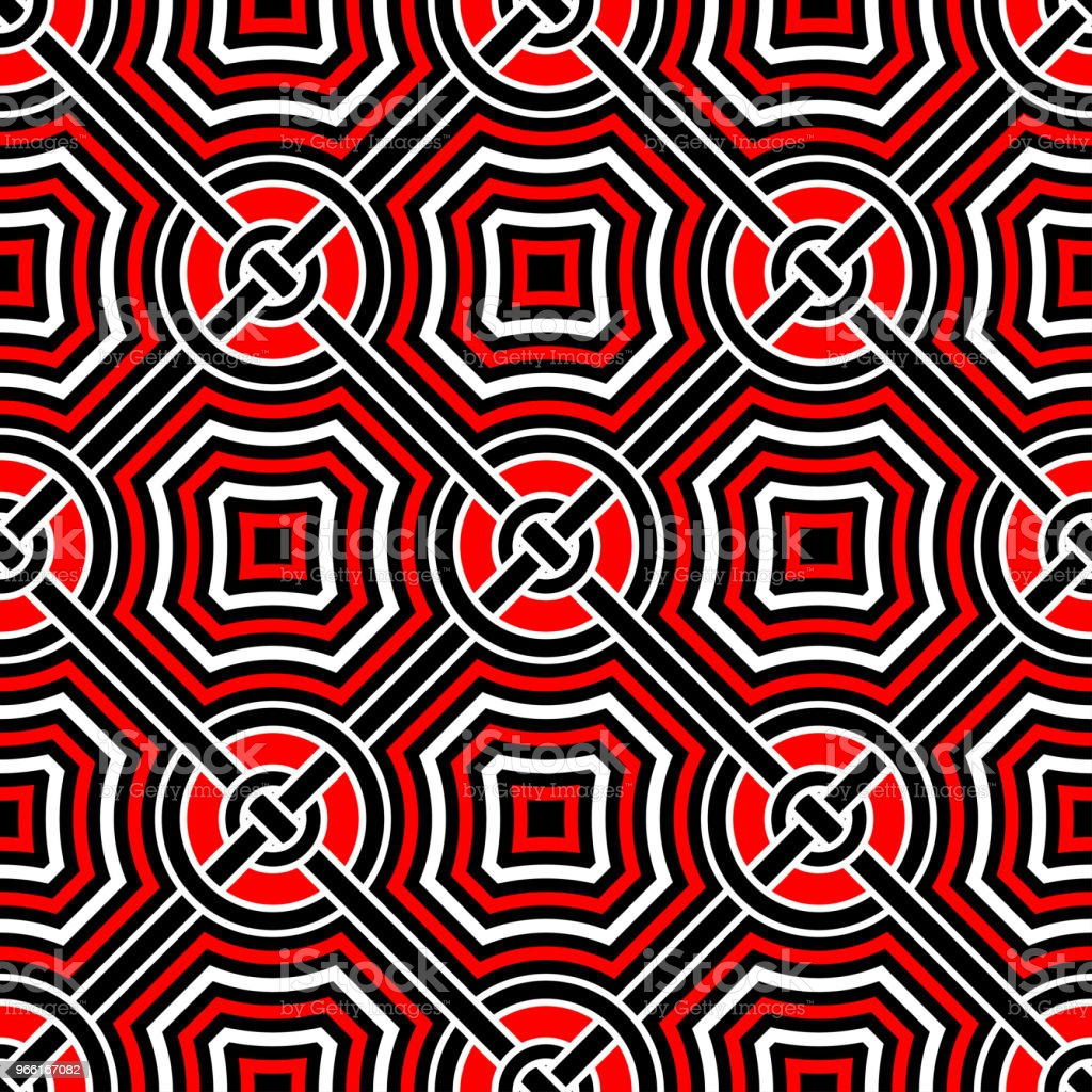 Geometric seamless pattern. Black red white background - Royalty-free Abstract stock vector