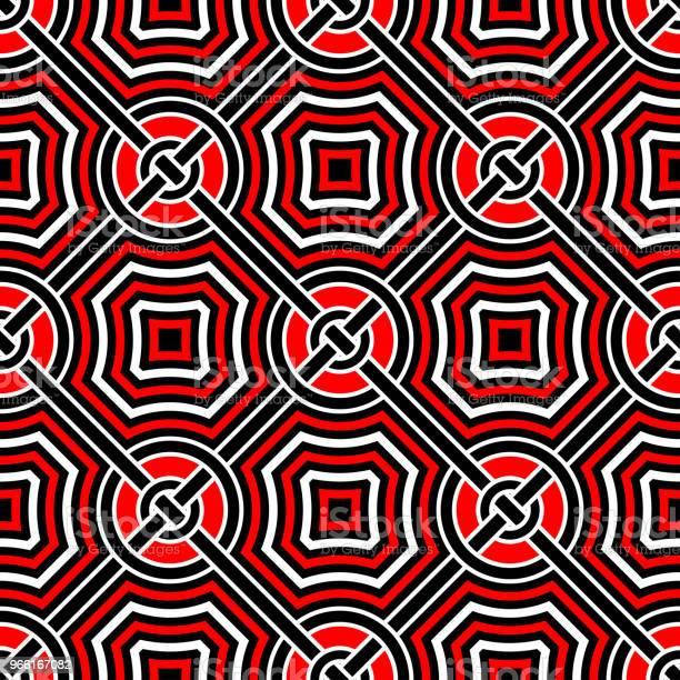 Geometriska Sömlösa Mönster Svart Röd Vit Bakgrund-vektorgrafik och fler bilder på Abstrakt
