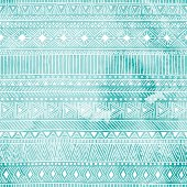 geometric seamless pattern, blue and white colors, watercolor texture, ethnic and tribal motifs, vector illustration