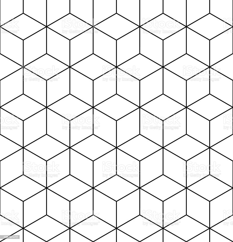 Geometric seamless pattern, endless black and white vector vector art illustration