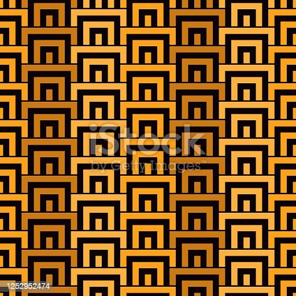 Geometric seamless pattern. Geo surface print. Repeated arcs, brackets motif. Oriental ornamental background. Ancient mosaic wallpaper. Ethnic, tribal ornament. Vector artistic abstract backdrop