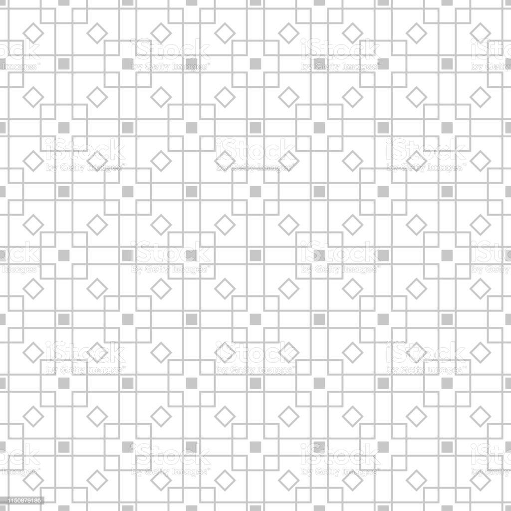 Geometric seamless pattern. Gray sqaure print on white background - arte vettoriale royalty-free di Bianco