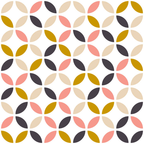 geometric seamless pattern in scandinavian style. mid century design. vector wallpaper. - бесшовный узор stock illustrations