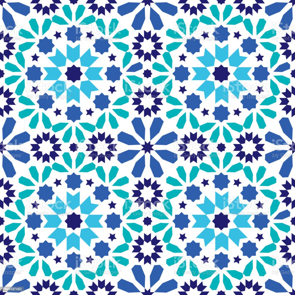 Geometric seamless pattern, Moroccan tiles design, seamless blue and turquoise tile background vector art illustration