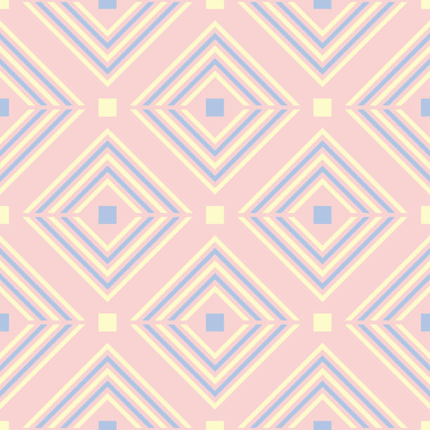 Bекторная иллюстрация Geometric seamless pattern. Pale pink background with blue and beige elements