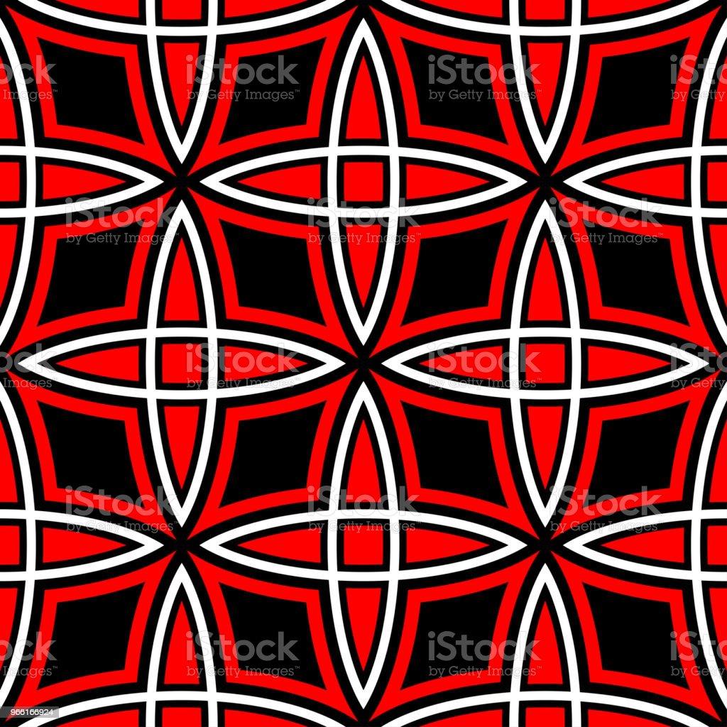 Geométrica de patrones sin fisuras. Elementos rojos y blancos sobre fondo negro - arte vectorial de Abstracto libre de derechos