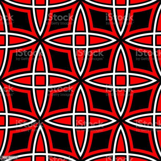 Geometriska Sömlösa Mönster Röda Och Vita Element På Svart Bakgrund-vektorgrafik och fler bilder på Abstrakt
