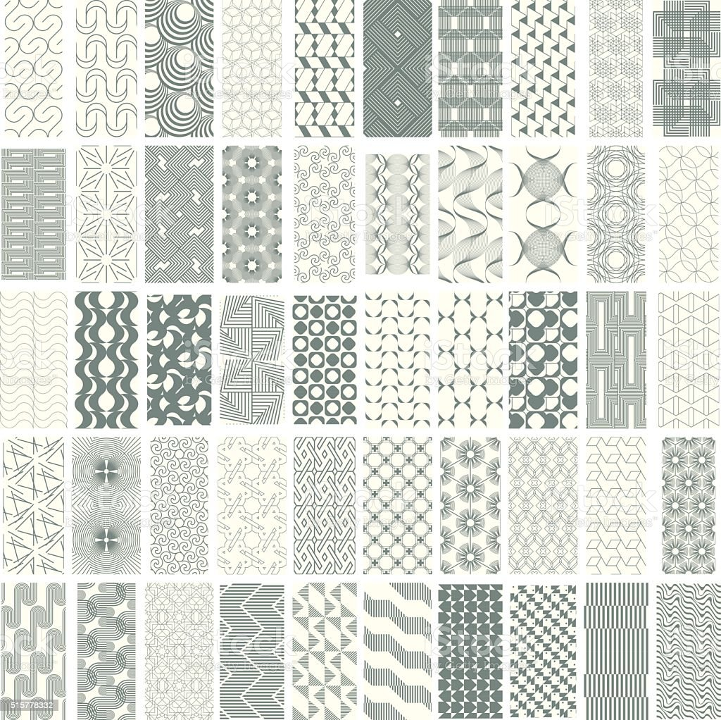 50 geometric seamless pattern set. vector art illustration