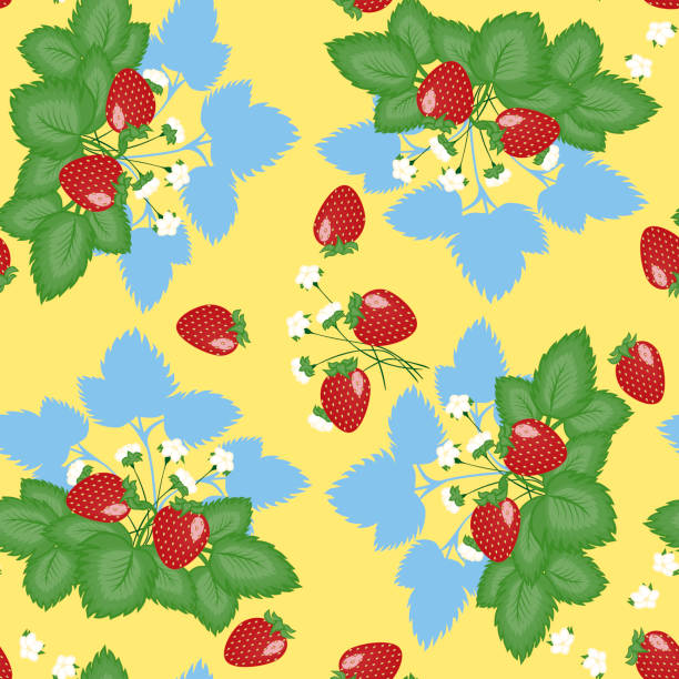 Bекторная иллюстрация Geometric seamless pattern - strawberry bush on a yellow background