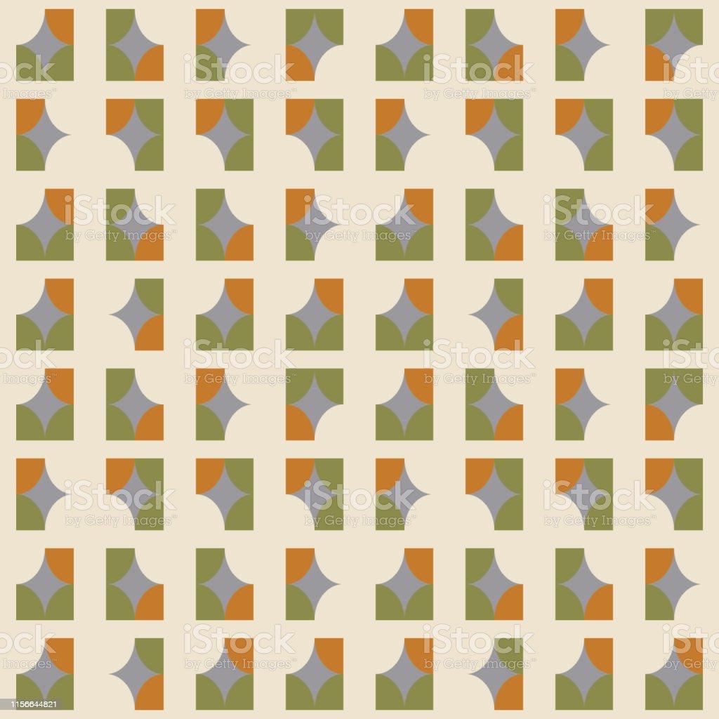 d2eadeac894309 Geometrisch naadloos patroon. Vector achtergrond met eenvoudige vormen  zoals halve cirkels en vierkanten in neutraal