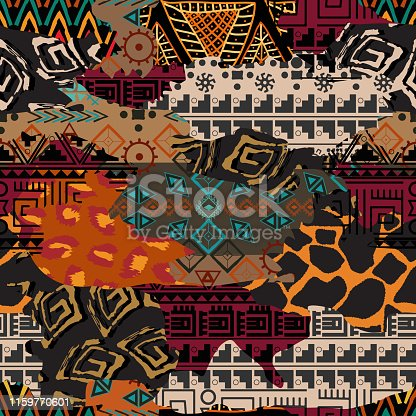 African traditional cloth and wild animal skins vector illustration. Bright print from pieces of different textures.