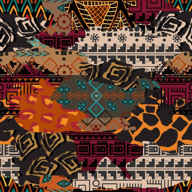 illustrations, cliparts, dessins animés et icônes de motif géométrique sans couture - afrique