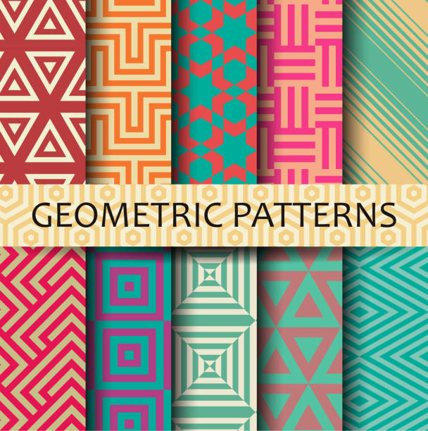 Geometric seamless pattern EPS10 file. It contains blending objects. Layered. grouped. fabric swatch stock illustrations