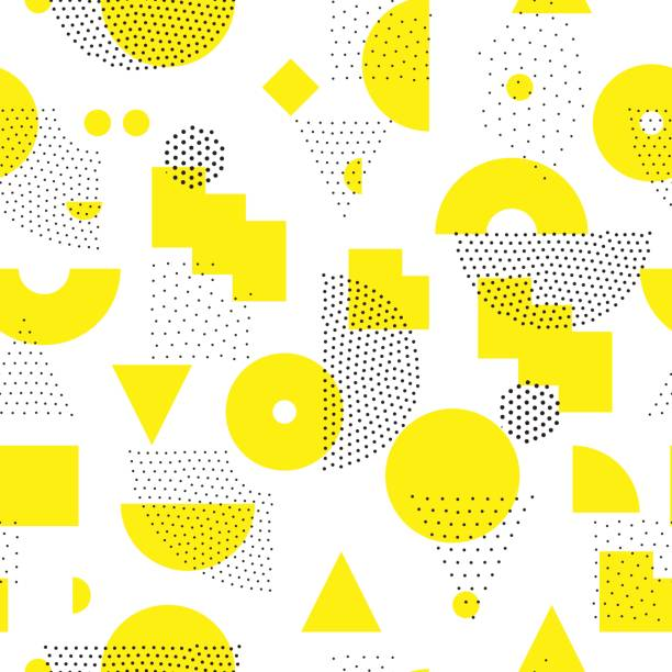 Geometric Seamless Pattern Vector geometric seamless pattern. Universal Repeating abstract circles figure in black white yellow. Modern halftone circle design, pointillism natural pattern stock illustrations