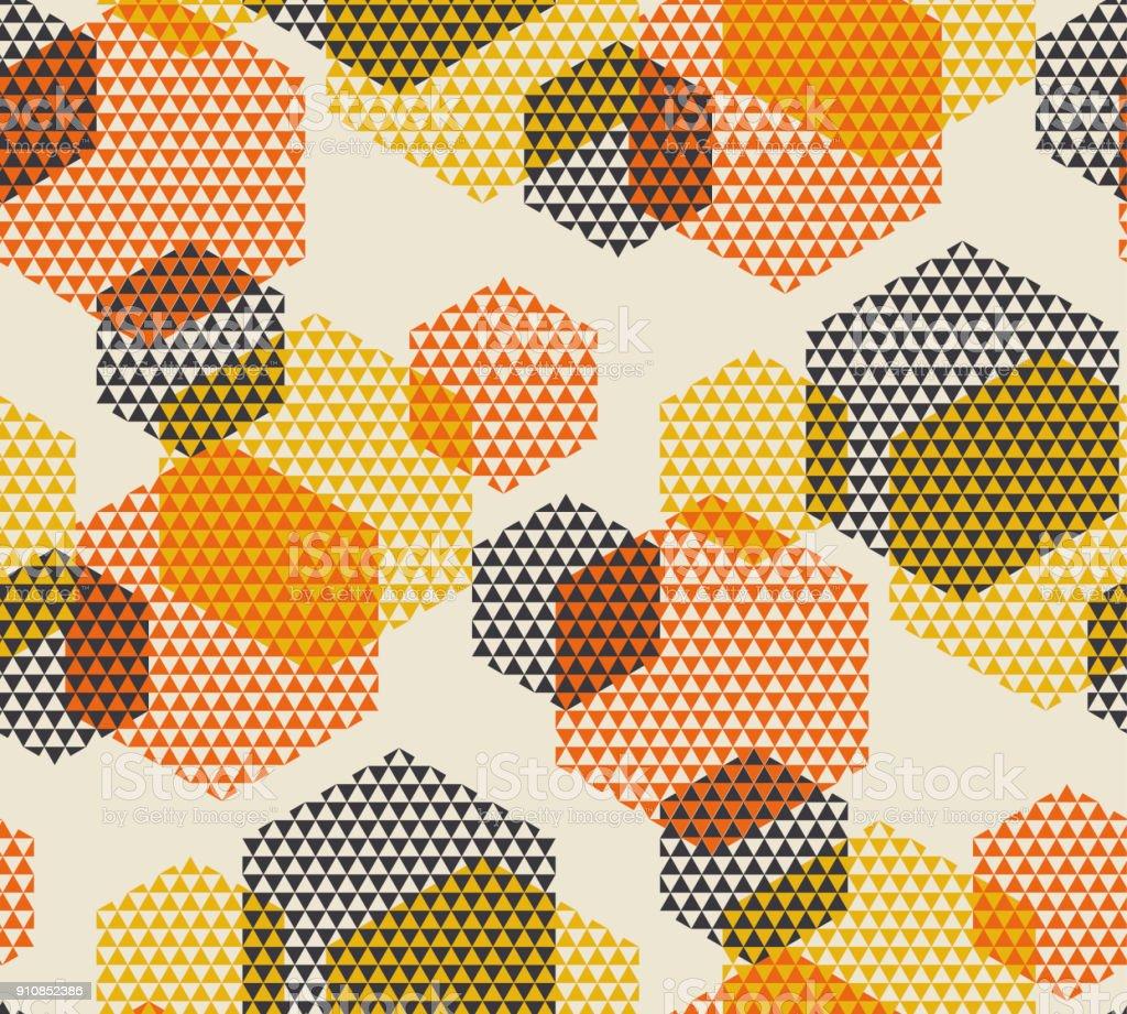 Ilustração em vetor padrão geométrico sem emenda no retrô dos anos 60 estilo. Geometria do vintage dos anos 1970 as formas gráfico abstrato motivo repetível para tapete, papel de embrulho, tecido, plano de fundo. - ilustração de arte em vetor