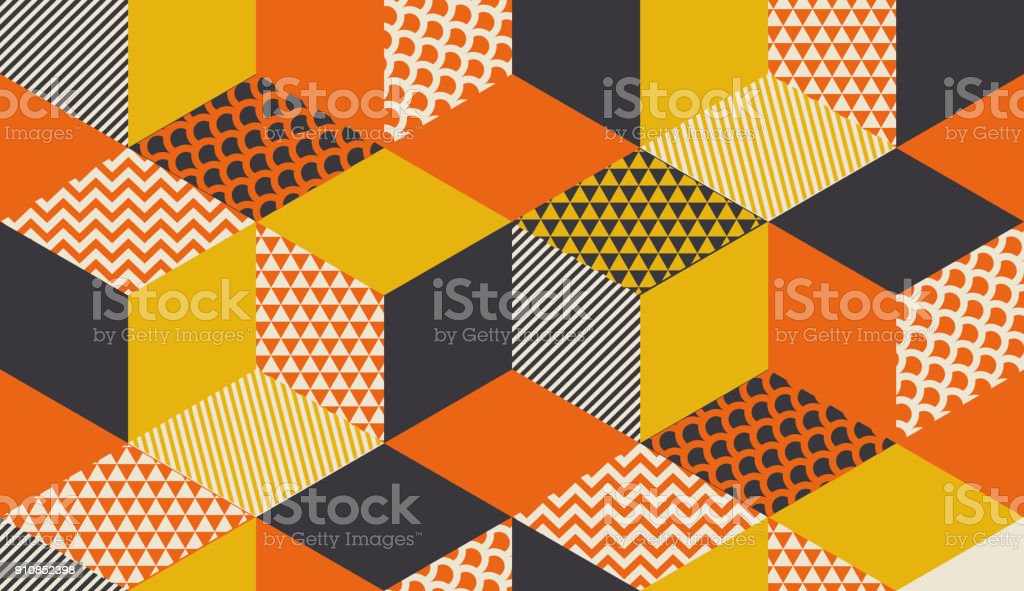 Geometric seamless pattern vector illustration in retro 60s style. Vintage 1970s geometry shapes graphic abstract repeatable motif for carpet, wrapping paper, fabric, background. vector art illustration