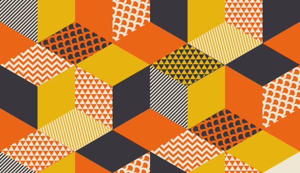 geometric seamless pattern vector illustration in retro 60s style. vintage 1970s geometry shapes graphic abstract repeatable motif for carpet, wrapping paper, fabric, background. - 1970s style stock illustrations, clip art, cartoons, & icons