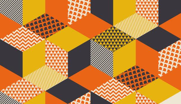 stockillustraties, clipart, cartoons en iconen met geometrische naadloze patroon vectorillustratie in retro jaren 60 stijl. vintage jaren 1970 geometrie vormen grafisch abstracte herhaalbare motief voor tapijt, inwikkeling van papier, stof, achtergrond. - patchwork