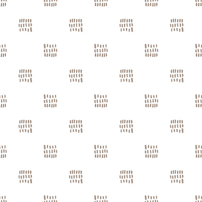 Geometric seamless pattern with line, square on white background. Abstract texture in hand drawn style for textile, Wallpaper, wrapping paper. Vector illustration