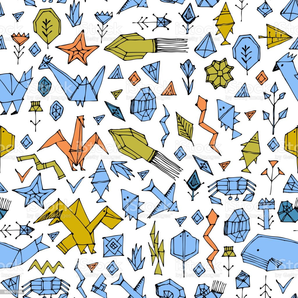 Geometric Seamless Pattern With Marine Animals And Plants Black ...