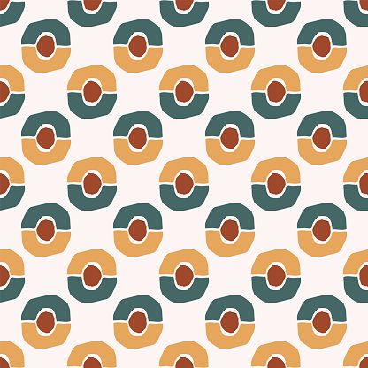 Geometric seamless pattern with oval, circle on light background. Abstract texture in hand drawn style for textile, Wallpaper, wrapping paper. Vector illustration