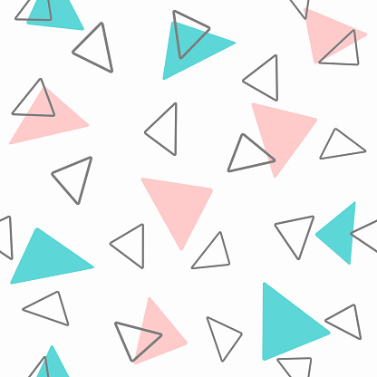 Geometric seamless pattern with triangles. Girly print.