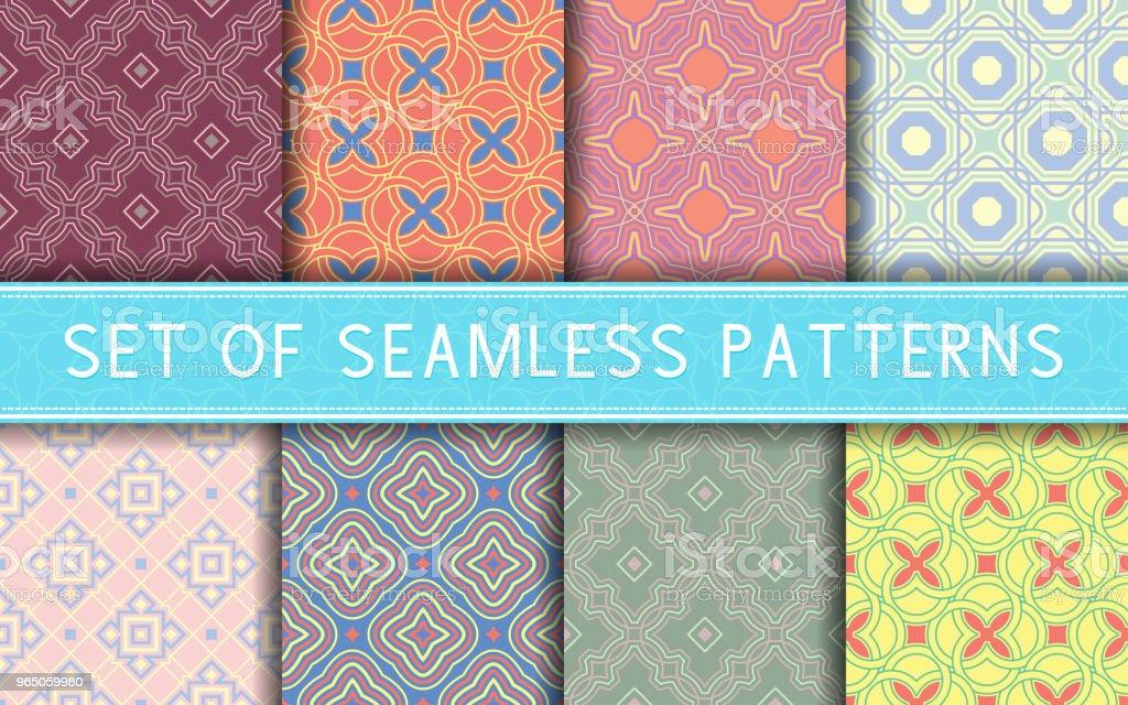 Geometric seamless patterns. Collection of colored backgrounds geometric seamless patterns collection of colored backgrounds - stockowe grafiki wektorowe i więcej obrazów abstrakcja royalty-free