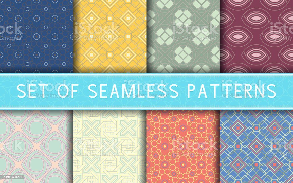 Geometric seamless patterns. Collection of colored backgrounds - Векторная графика Абстрактный роялти-фри