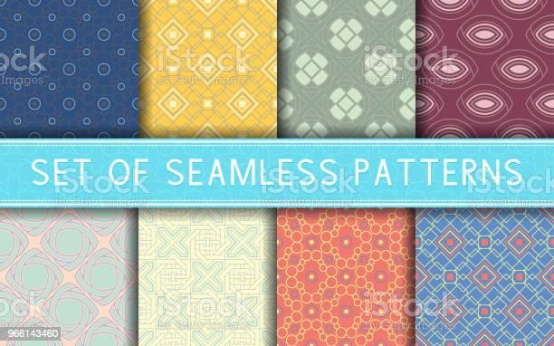 Geometric Seamless Patterns Collection Of Colored Backgrounds — стоковая векторная графика и другие изображения на тему Абстрактный