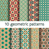 Geometric seamless patterns set. Vector illustration.