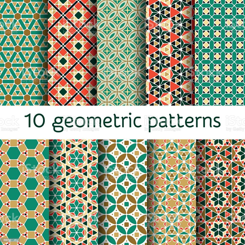 Geometric seamless patterns set. Vector illustration. vector art illustration