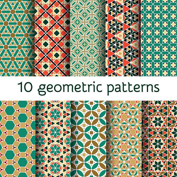 Geometric seamless patterns set. Vector illustration. vector art illustration
