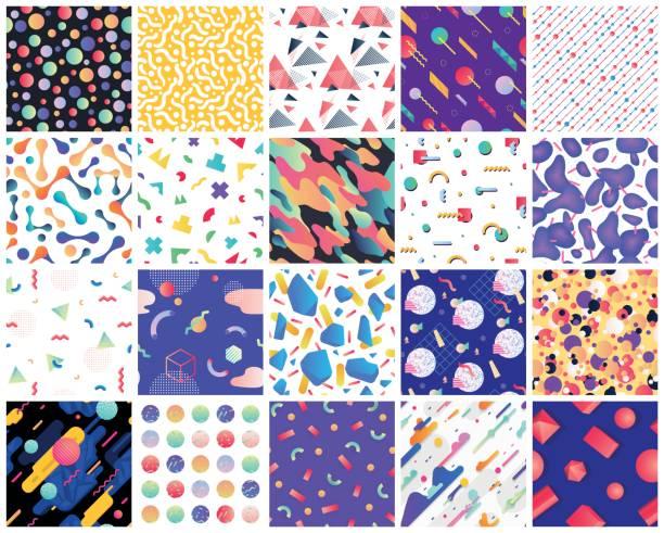 geometric seamless patterns - 1980s style stock illustrations, clip art, cartoons, & icons