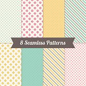 Geometric Seamless Patterns with Flowers, Polka Dot and Diagonal Stripes