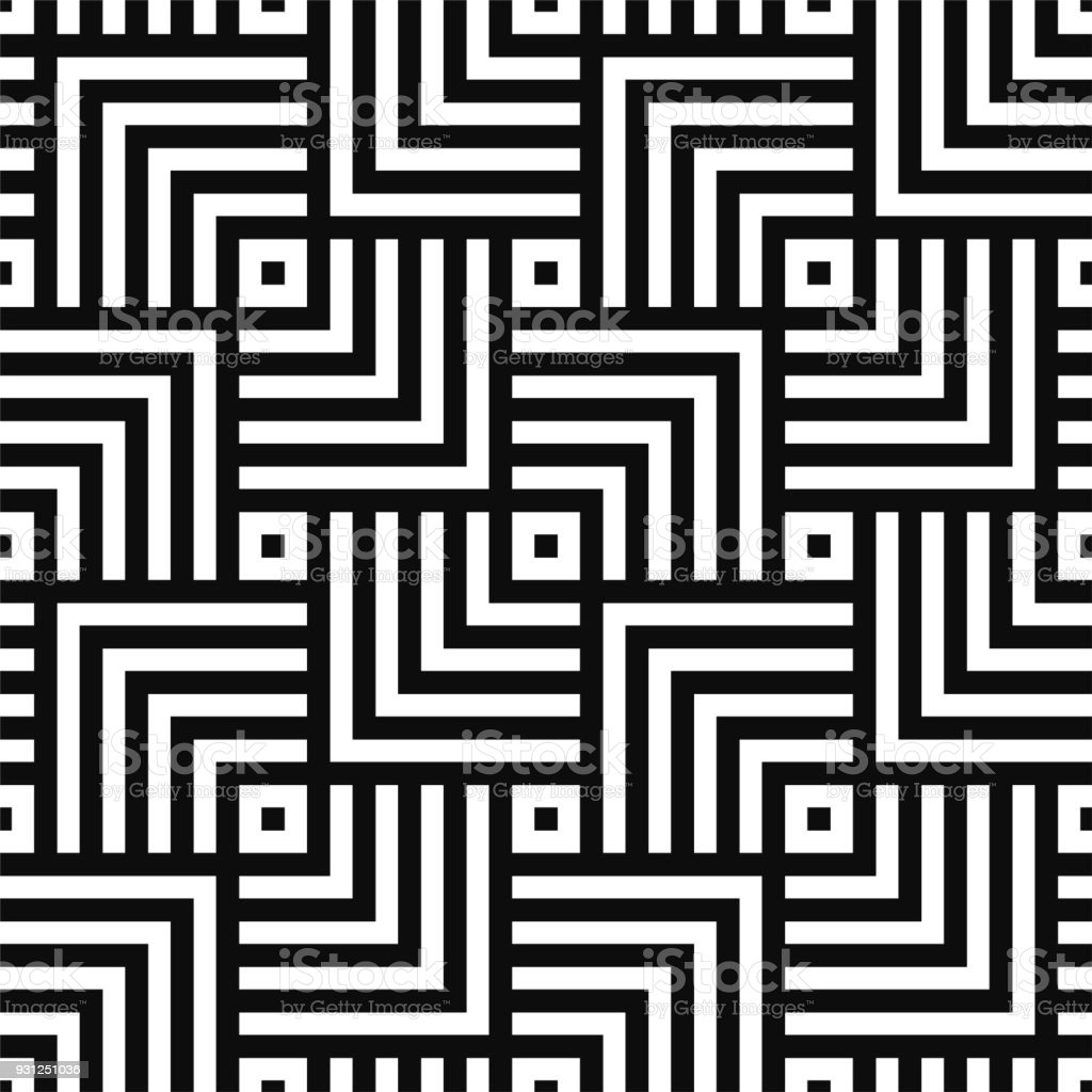 Geometric seamless vector creative pattern. Black and white squares background royalty-free geometric seamless vector creative pattern black and white squares background stock illustration - download image now