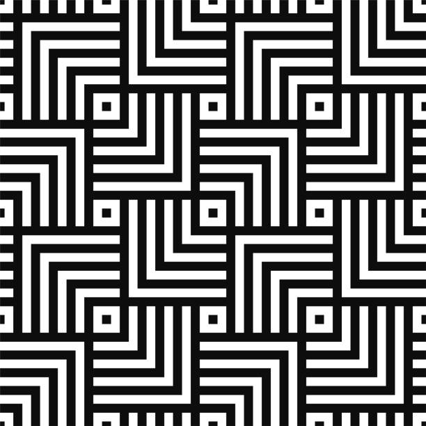 geometric seamless vector creative pattern. black and white squares background - black and white pattern stock illustrations, clip art, cartoons, & icons